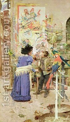 Bird Seller by Edouard Menta - Reproduction Oil Painting