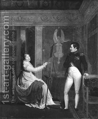 Marie Louise 1791-1847 of Habsbourg Lorraine Painting a Portrait of Napoleon I 1769-1821 2 by Alexandre Menjaud - Reproduction Oil Painting