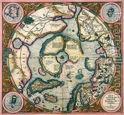 Septentrionalium terrarum descriptio map of the Arctic 1595 by Gerard Mercator - Reproduction Oil Painting