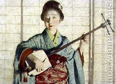 A Primrose Dame a Japanese Girl Playing a Samisen by Mortimer Ludington Menpes - Reproduction Oil Painting