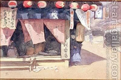 Outside a Teahouse Japan 1887-88 by Mortimer Ludington Menpes - Reproduction Oil Painting