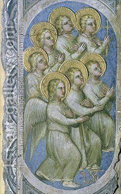The Seven Angels of the Apocalypse Receive the Seven Flasks 1360-70 by Giusto di Giovanni de' Menabuoi - Reproduction Oil Painting