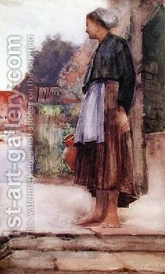 A Fishermans Daughter Cancale Normandy by Arthur Melville - Reproduction Oil Painting