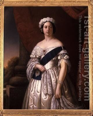 Queen Victoria of England 1846 by Alexander Melville - Reproduction Oil Painting