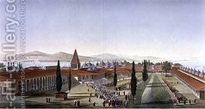 View of the Inner Courtyard of the Seraglio Topkapi Palace Constantinople by Anton Ignaz Melling - Reproduction Oil Painting
