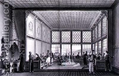 Interior of a public cafe in Constantinople by the Bosphorus 1819 by Anton Ignaz Melling - Reproduction Oil Painting