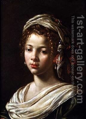 Head of a Girl by Claude Mellan - Reproduction Oil Painting