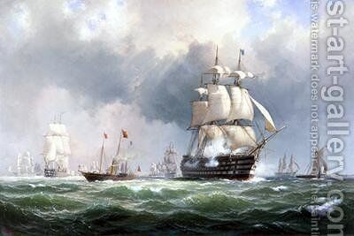 The Baltic Fleet Leaving Spithead 15th March 1854 by Anton Melbye - Reproduction Oil Painting