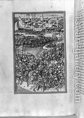 Illustration of the Battle of Lechfeld from the Augsburg Chronicle 1457 by Sigismund Meisterlin - Reproduction Oil Painting