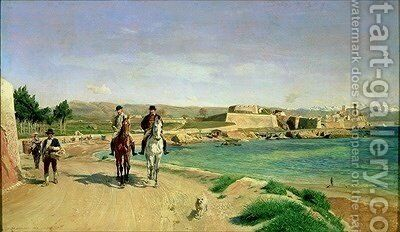 Antibes the Horse Ride 1868 by Jean Charles Meissonier - Reproduction Oil Painting