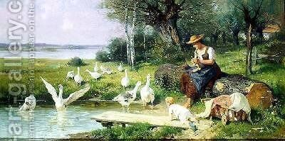 Mother and Child with Geese by Adolf Ernst Meissner - Reproduction Oil Painting