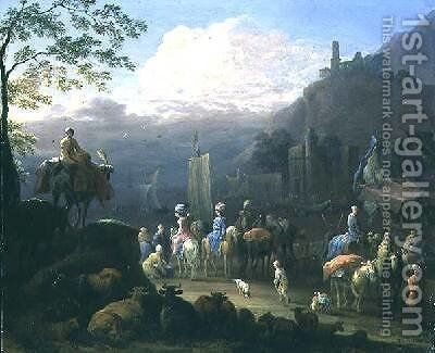 A party of travellers near a harbour by Jan Baptist van der Meiren - Reproduction Oil Painting