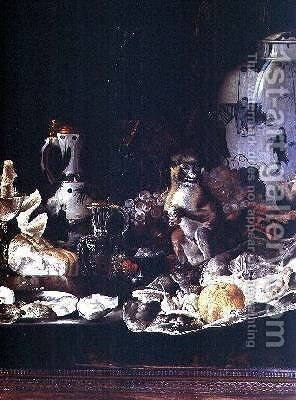 Exotic still life with monkey and Chinese porcelain by Barend or Bernardus van der Meer - Reproduction Oil Painting