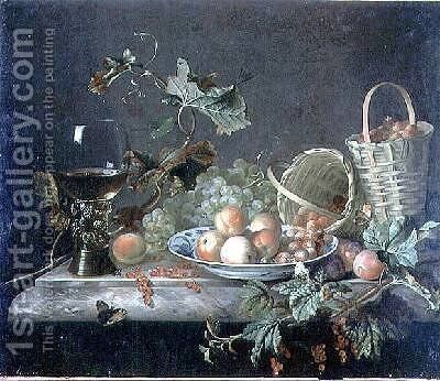 Fruit Piece with Wine Glass 1692 by Barend or Bernardus van der Meer - Reproduction Oil Painting