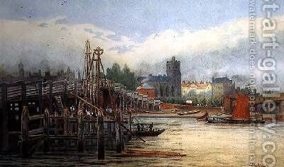 Old Putney Bridge 1881 by Hubert James Medlycott - Reproduction Oil Painting