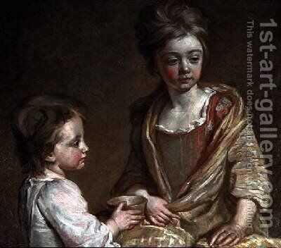 Portrait of Two of the Artists Children by Sir John Baptist de Medina - Reproduction Oil Painting
