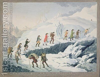Valentine Richards Ascent of Mont Blanc by M de Saussure in August 1787 1790 by Christian von Mechel - Reproduction Oil Painting