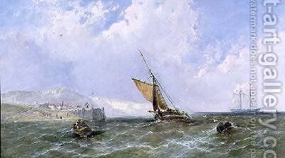 Shipping off a Coastline 1865 by James Edwin Meadows - Reproduction Oil Painting