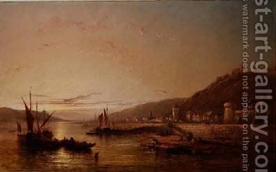 Fishing Boats at Sunset by James Edwin Meadows - Reproduction Oil Painting