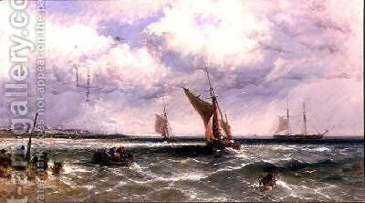 Fishing Boats Coming into Shore with a Two-Master at Anchor Beyond by James Edwin Meadows - Reproduction Oil Painting