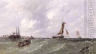 Fishermen laying Lobster Pots 1856 by James Edwin Meadows - Reproduction Oil Painting