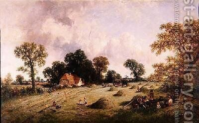Haymaking in Hampshire by James Edwin Meadows - Reproduction Oil Painting