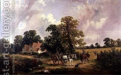 Essex landscape with Horse and Cart by James Edwin Meadows - Reproduction Oil Painting