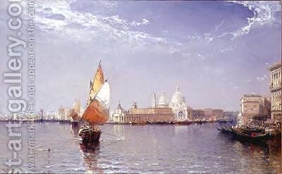 Venetian Canal Scene with the Salute in the distance by Arthur Joseph Meadows - Reproduction Oil Painting