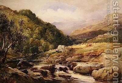 Landscape with Stream and Haymakers by David Hall McKewan - Reproduction Oil Painting