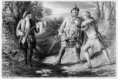 Rob Roy Parting Duellists Rashleigh and Francis Osbaldistone by (after) McDonald, James Blake - Reproduction Oil Painting