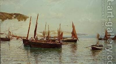 Bell Trawlers going to sea by J.J.Hamilton McCullum - Reproduction Oil Painting
