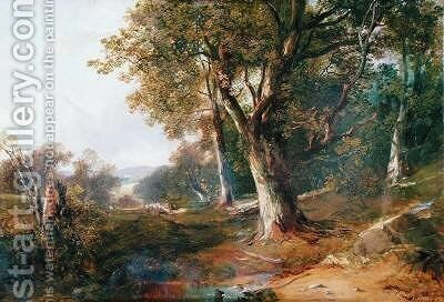 A Wooded Landscape with Castle in Distance 1865 by Horatio McCulloch - Reproduction Oil Painting