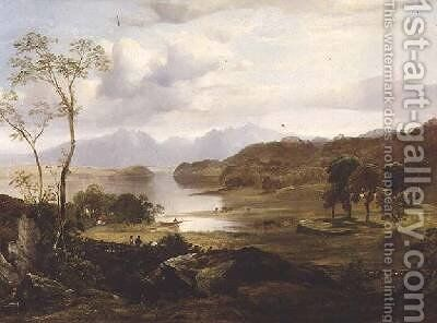 Loch Fad Arran in the Distance by Horatio McCulloch - Reproduction Oil Painting