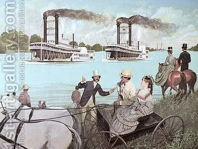 The Great Mississippi Steamboat Race 1870 by H.C. McBarron - Reproduction Oil Painting
