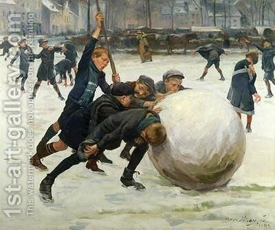 The Giantest Snowball 1903 by Jean Mayne - Reproduction Oil Painting
