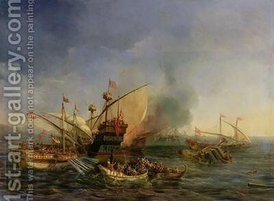 Naval Battle of Episkopi in 1323 1841 by Auguste Etienne Francois Mayer - Reproduction Oil Painting