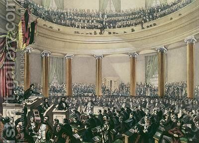 The National Assembly in the church St Paul Frankfurt convened in May 1848 by E.G. May - Reproduction Oil Painting