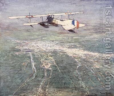 Sea plane flying over Damascus illustration from The Naval Front by Gordon S Maxwell 1920 by (after) Maxwell, Donald - Reproduction Oil Painting