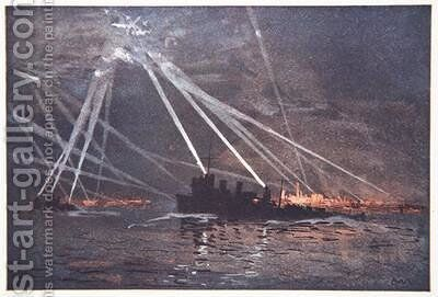 Blood and Iron An Airraid in the North illustration from The Naval Front by Gordon S Maxwell 1920 by (after) Maxwell, Donald - Reproduction Oil Painting