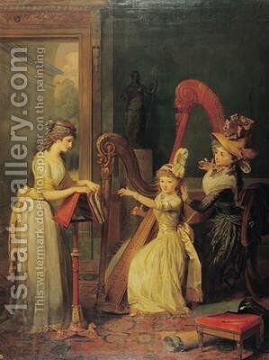 Harp lesson given by Madame de Genlis to Mademoiselle dOrleans with Mademoiselle Pamela Turning the Pages 1842 by Jean Baptiste Mauzaisse - Reproduction Oil Painting