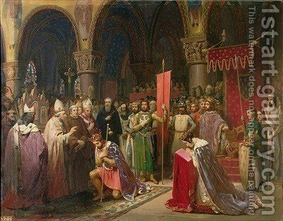 Louis VII 1120-1180 the Young King of France Taking the Banner in St Denis in 1147 1840 by Jean Baptiste Mauzaisse - Reproduction Oil Painting