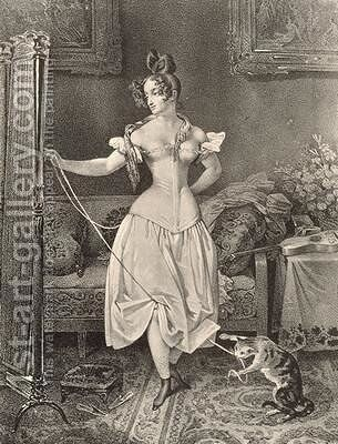 The Stay-lace engraved by Alfred Leon Lemercier by (after) Maurin, Nicholas Eustache - Reproduction Oil Painting