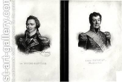 Portraits of Louis Rene Madeleine Le Vassor 1745-1804 Count of La Touche Treville and Admiral Laurent Truguet 1752-1839 1836 by Antoine Maurin - Reproduction Oil Painting