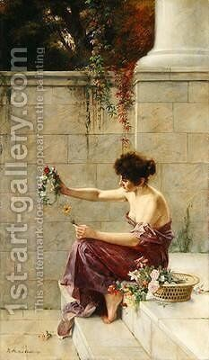 Wreath Maker on a Marble Step 1897 by Theodor Matthei - Reproduction Oil Painting