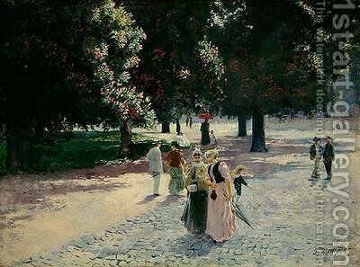 At the Edge of the Park 1894 by Theodor Matthei - Reproduction Oil Painting