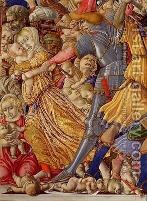 The Massacre of the Innocents detail of a soldier preparing to stab a child and surrounding carnage 1482 by di Giovanni di Bartolo Matteo - Reproduction Oil Painting