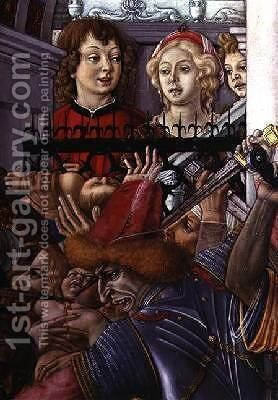 The Massacre of the Innocents detail of two onlookers observing the carnage from the palace 1482 by di Giovanni di Bartolo Matteo - Reproduction Oil Painting