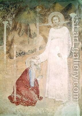 The Vision of St John at Patmos detail from the chapel of St John 1344-45 by di Giovanetto da Viterbo Matteo - Reproduction Oil Painting