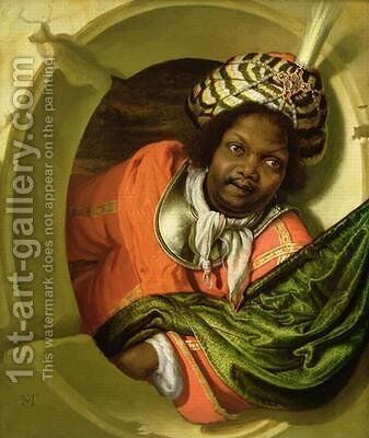 Portrait of a Moor holding a flag at a window by Bartholomaus Maton - Reproduction Oil Painting