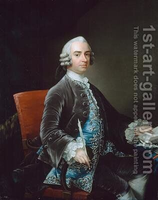 John Larpent 1710-97 Chief Clerk of the Northern Department 1749 by (attr. to) Mathias, Gabriel - Reproduction Oil Painting
